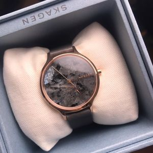 Skagen marble & leather watch
